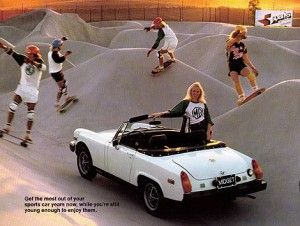 An MG advertisement set in the Carlsbad, California skatepark. Image courtesy: Carlsbad Skatepark and Steven Michelsen