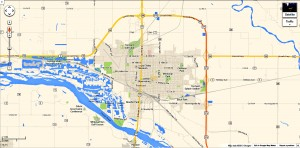 Fremont, Nebraska has about 25,000 residents. A single neighborhood skatepark near the center of town would fully meet its needs. Image courtesy: GoogleMaps