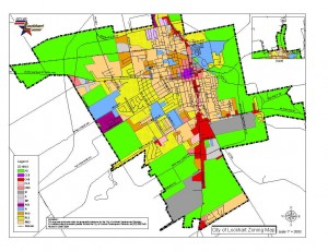 Each color in a zoning map represents the kind of development allowed there. Image courtesy: Lockhart, TX
